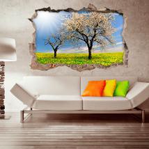 Vinile 3D alberi e fiori gialli