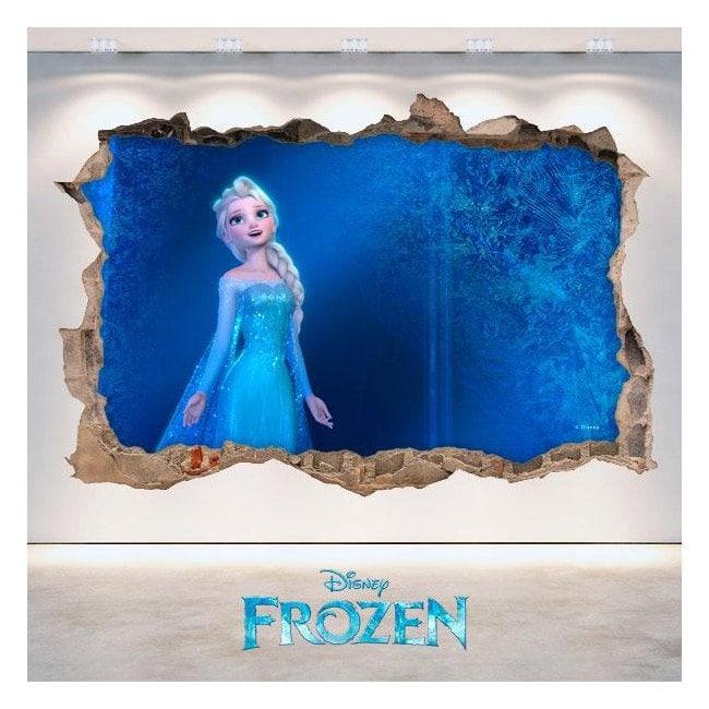 Murale in vinile 3D Disney congelato foro Italian 4685