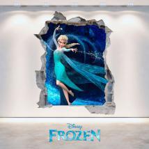 Murale in vinile 3D Disney congelato foro Italian 4696