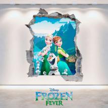 Vinile Disney Anna ed Elsa Frozen buco muro 3D