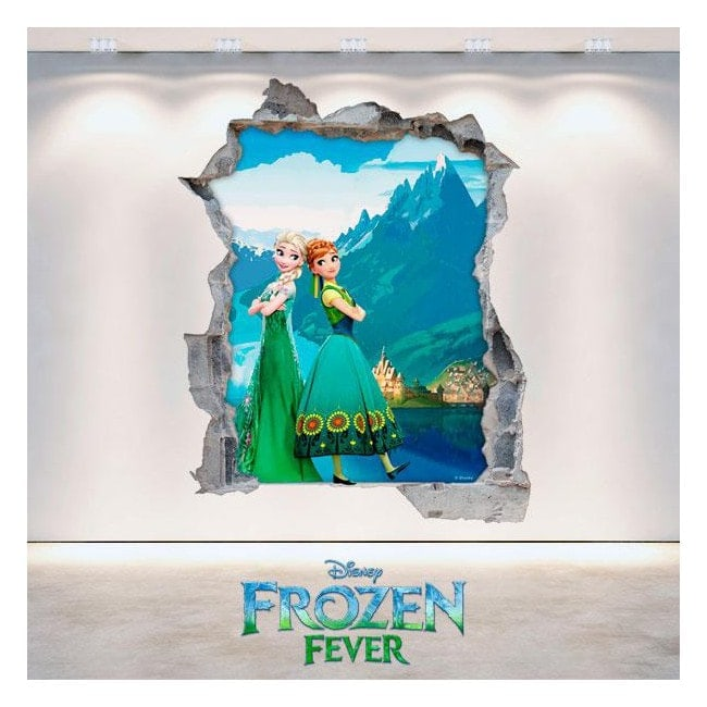 Parete del foro vinile 3D Disney Frozen Elsa & Anna