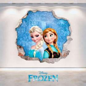 Disney vinile congelati Anna ed Elsa foro parete 3D