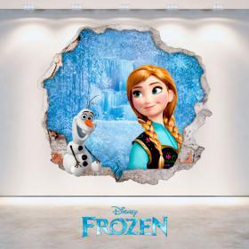 Disney vinile Anna congelati e Olaf foro parete 3D