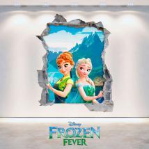 Murale in vinile Disney Frozen Elsa e Anna foro 3D