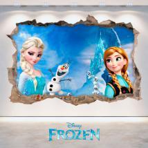 Vinile 3D Disney Frozen Elsa e Anna foro parete