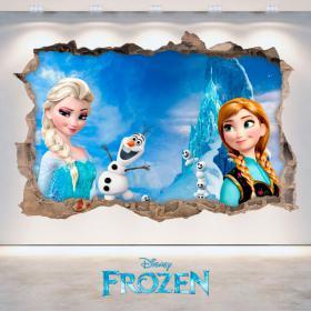 Vinile Disney Frozen Elsa e Anna foro parete 3D