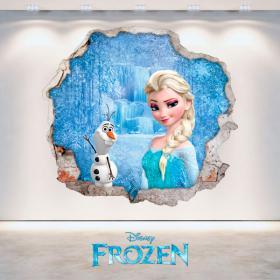 Murale in vinile Disney Frozen Elsa e Olaf foro 3D