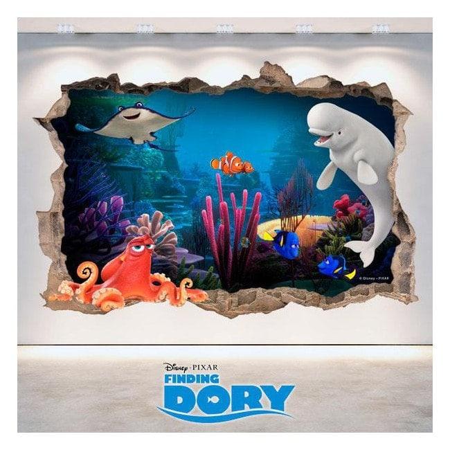Parete 3D del foro di Disney trovare Dory di vinile