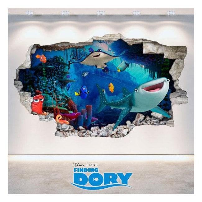 Vinile Disney alla ricerca alla parete del foro 3D di Dory