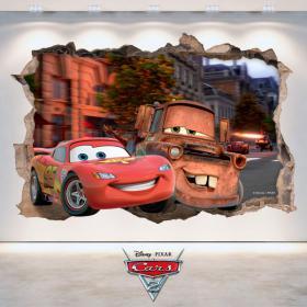 Adesivi 3D buco muro Disney Cars 2
