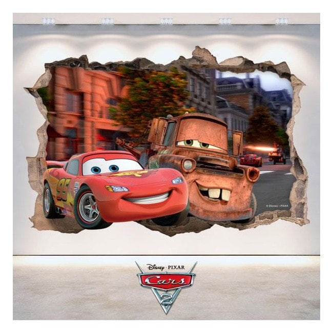 Adesivi 3D buco muro Disney Cars 2 Italian 4784