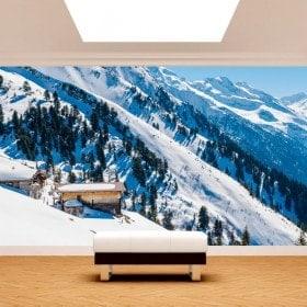 Foto muro murales montagne di neve