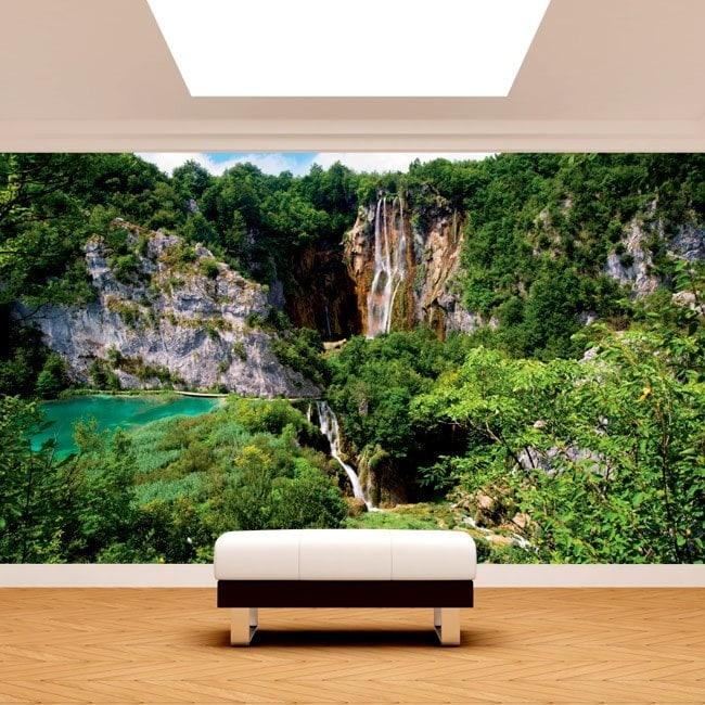 Cascate di murales muro foto nelle montagne