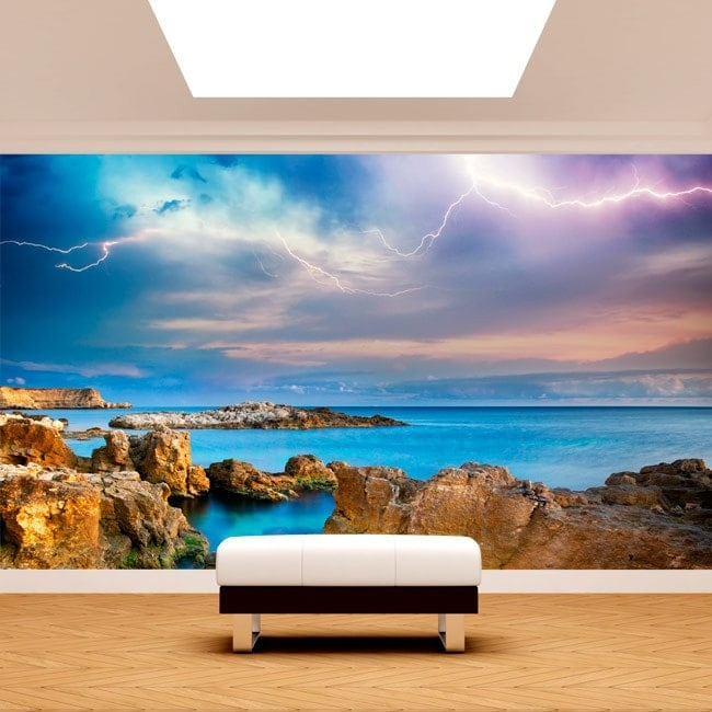 Raggi di murales muro foto nel mare
