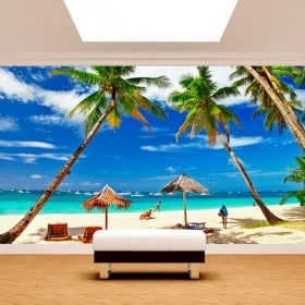 Fotomural palme sulla spiaggia