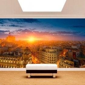 Foto muro murales Madrid Gran Via sunset