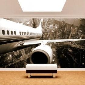 Fotomural Avión Despegue Ciudad