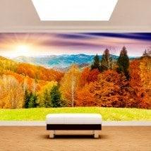 Foto muro murales tramonto montagne