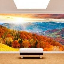 Tramonto di murales muro foto nelle montagne