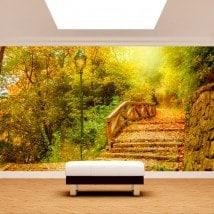 Foto muro murales ponte e alberi autunno