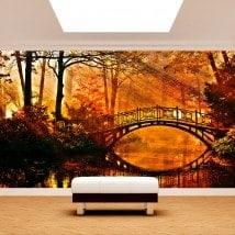 Foto bridge di murales muro sul lago