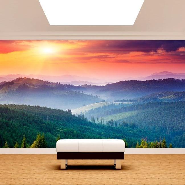 Fotomurali tramonto montagne della parete