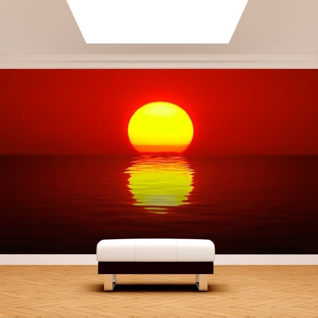 Foto muro murales sole tramonto sul mare