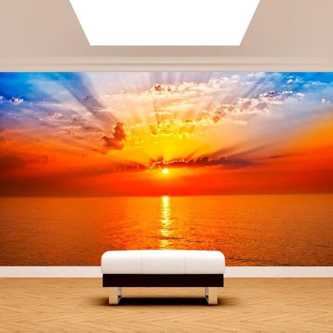 Foto muro murales tramonto sole mare