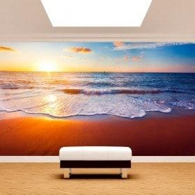 Tramonto di murales muro foto sulla spiaggia