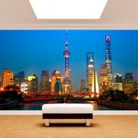 Città di foto parete murales Shanghai