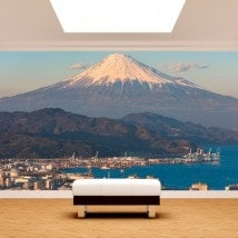 Città di foto parete murales Monte Fuji
