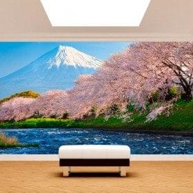 Foto muro murales Monte Fuji alberi fiore di ciliegia