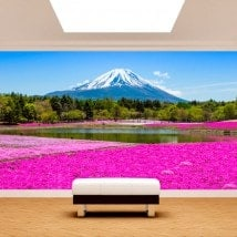Foto muro murales Fiori Rose giardini Monte Fuji