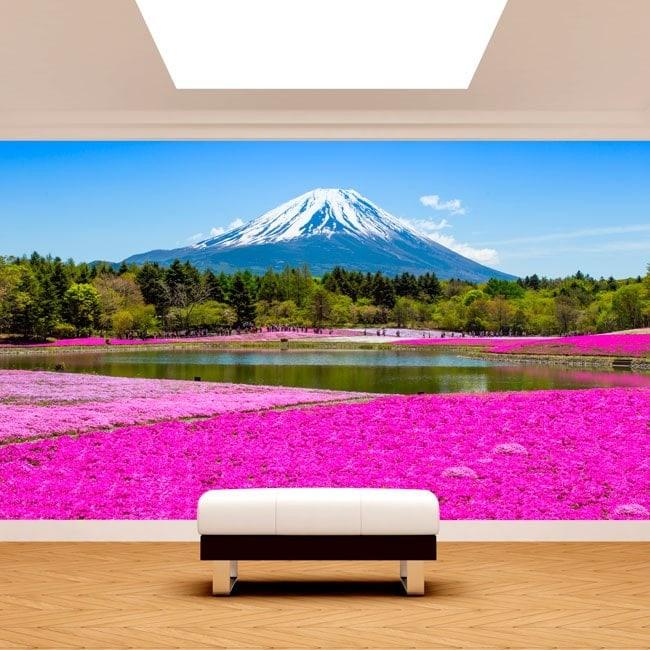Foto muro murales Giardini Fiori Rose Monte Fuji