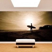 Fotomural surfista sulla spiaggia