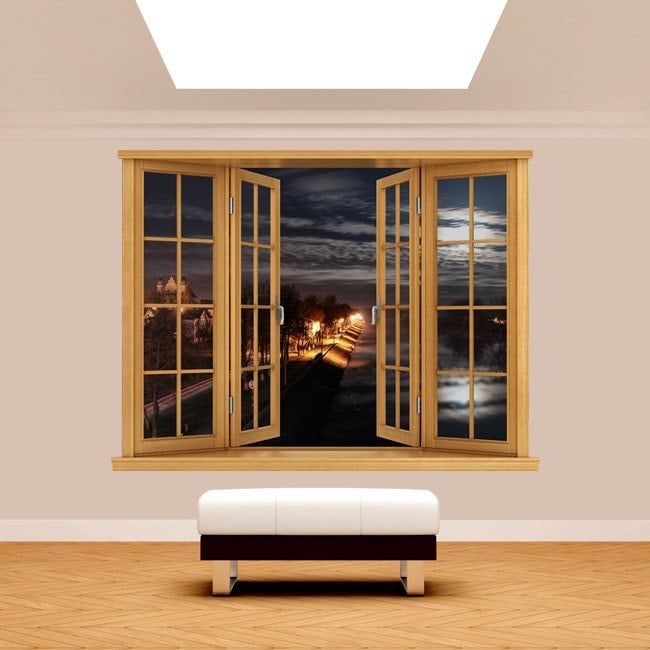 Windows 3D vita notturna della città
