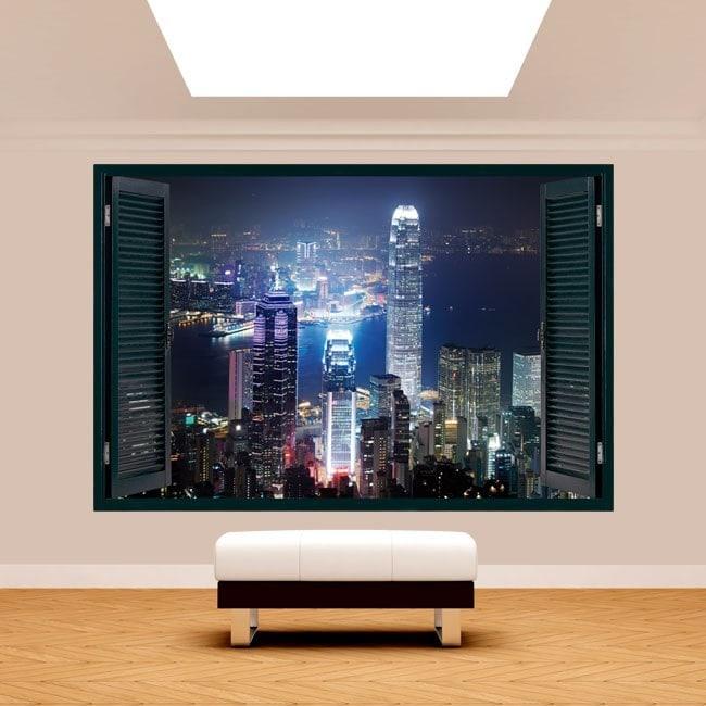 Finestra 3D Hong Kong città