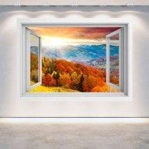 Tramonto 3D Windows nelle montagne