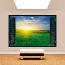Windows 3D sole nell'orizzonte