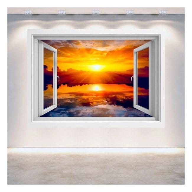 Finestra 3D sole tramonto mare