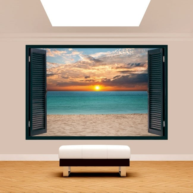 Tramonto 3D Windows sulla spiaggia Italian 5126
