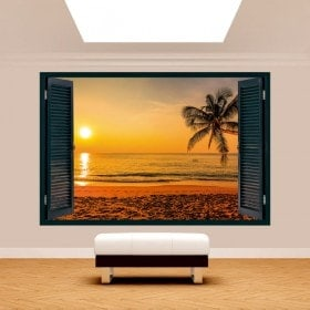 Windows 3D Palm tree Sunset Beach