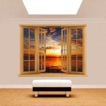 Mare di sole tramonto 3D finestra