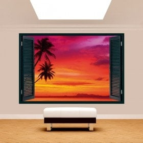 Windows 3D Palms Sunset Beach
