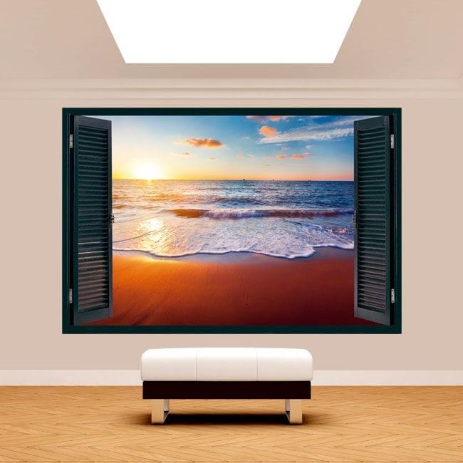 Tramonto 3D Windows sulla spiaggia Italian 5132