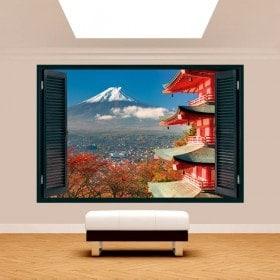 Finestra di pareti 3D Monte Fuji