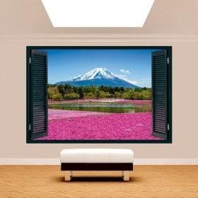 Windows 3D rosa fiori giardini Monte Fuji