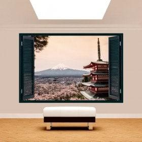 Finestra 3D Pagoda Monte Fuji