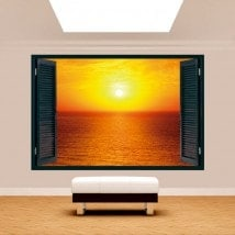 Tramonto di sole 3D Windows sul mare