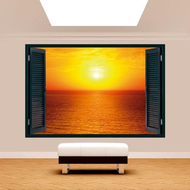 Tramonto di sole 3D Windows sul mare